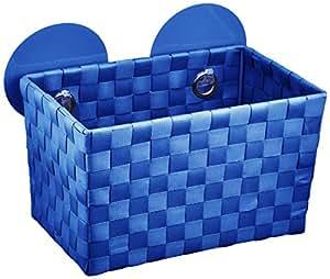 Wenko 20380100 Fermo Static Loc Corbeille Repositionnable de Salle de Bain Bleu
