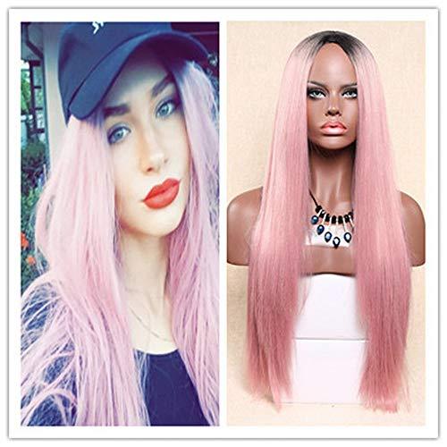 (Junjie Beständig gegen die Hitze von langen Haaren und Geraden Synthetischen Zwei Tönen Perücken Frauen Mehrfarbig)
