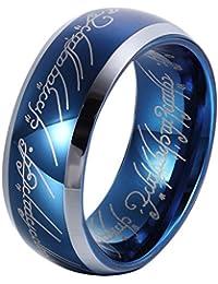 GER TBS 8 mm Zafiro Azul Anillo de carburo de tungsteno de el Señor de los