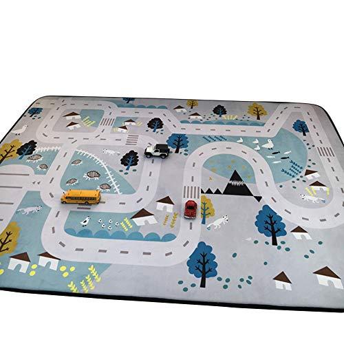 *VClife Teppiche Polyester Matte Kinderteppich Baby Krabbeldecke Kinder Spielteppich Geschenk Yoga Teppich Picknick Matte 150 x 200cm Dorf*