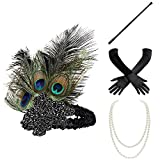 BABEYOND 1920s Flapper Set Damen Gatsby Kostüm Accessoires Set inklusive Stirnband Halskette Handschuhe Zigarettenhalter (Set-1)