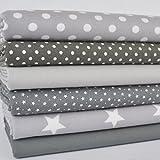 Always Knitting And Sewing Fat Quarter Bundles Basics Range - 100 % Cotton Fabric grey basics