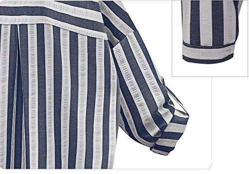 Blansdi Femme Elégante Rayuré Coton Boutons Col V Hauts Chemise Manches Longues Tops Blouse Shirt Bleu foncé