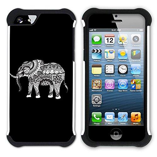 Graphic4You Stammes- Elefant (Wasserblau) Hart + Weiche Kratzfeste Hülle Case Schale Tasche Schutzhülle für Apple iPhone SE / 5 / 5S Schwarz