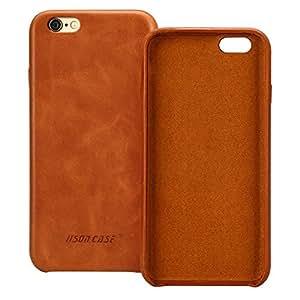 Jisoncase Hülle für iPhone 6 6s, Handytasche in Farbe braun, aus echtem Leder, Zubehör für iPhone 6s 6 Smartphone Tasche (4,7 Zoll (11,9 cm), Lederhülle, JS-I6S-02A20