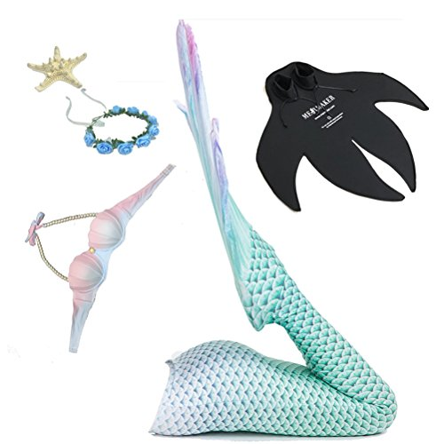 SSTARY 5Pcs Meerjungfrauenschwanz Bikini Set, Prinzessin Cosplay Bademode Erwachsene Badeanzug Prinzessin Bikini Swimwear