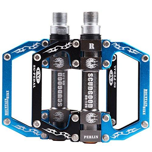 Pédale Vélo,BMX Pédales VTT Poids Léger Antidérapant CNC Alliage D'aluminium Pédales de Vélo Avec Paliers Fermés(Bleu/Noir)