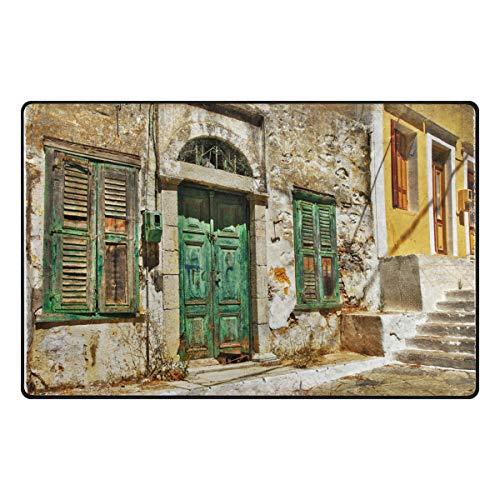 arming Old Streets of Griechische Inseln Muster Eintrittsmatten Anti-Krallen-Teppich-Stopper 78,7 x 50,8 cm / 152,4 x 99,1 cm, Polyester, 1, 60 x 39 inch ()