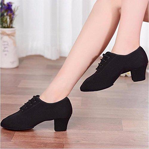 SQIAO-X- Scarpe da ballo morbida gomma fondo Square Dance Scarpe Nero Oxford tessuto insegnanti scarpe scarpe Latina Nero