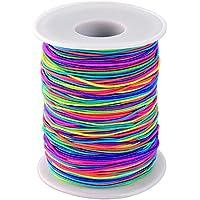 Sumind Elastische Schnur Regenbogen Farbe Perlenschnur Faden Stretchbar Stoff Handwerk Schnur, 1 mm, 100 m