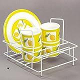 Geschirr Ständer Abtropfgestell aus lackiertem Stahl mit Gummifüßen: Geschirrständer Abtropfkorb Abtropfgitter Geschirrkorb Küche Korb