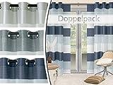 Doppelpack - Ösenschal oder Schiebevorhang - plakatives und halbtransparentes Querstreifenmuster - erhältlich in 3 modernen Farbvarianten, Ösenschal, blau