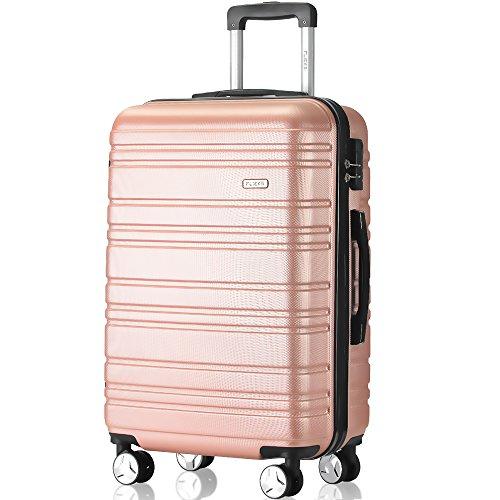 Flieks Hartschale Trolley Koffer Reisekoffer Zwillingsrollen Reisekoffer mit Zahlenschloss Handgepäck mit (Pink, Großer Koffer) (Systeme Große Technische)