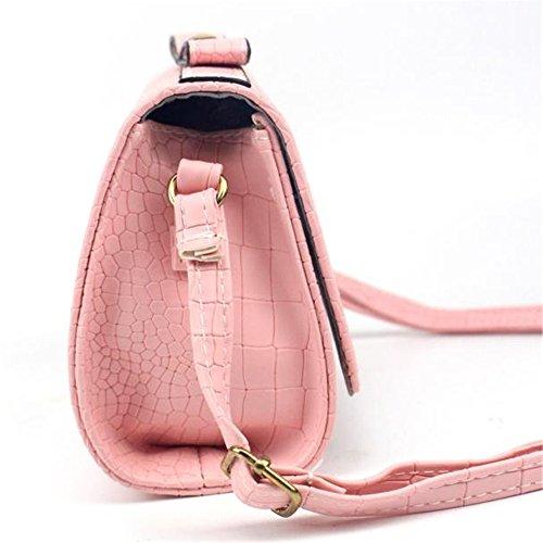 Longra Donna Crocodile modello dellarco singoli sacchetti di spalla diagonali Rosa