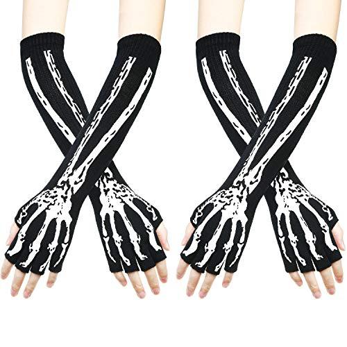 2 Paar Skelett Fingerlose Handschuhe Schädel Unisex Lange Fingerlose Handschuhe Armlinge Dehnbare Handschuhe für Halloween Kostüme und Cosplay (Kostüm Für Schwarze Menschen)