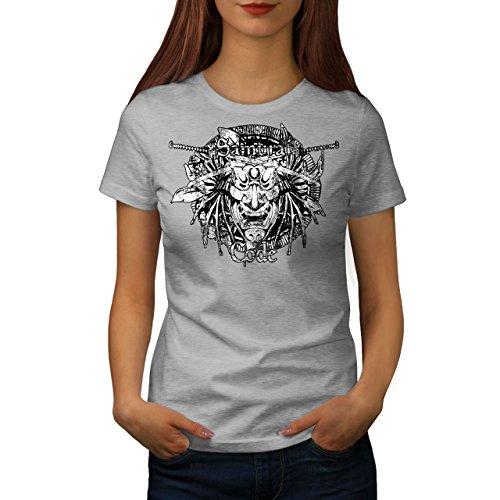 wellcoda Maske Samurai Kunst Fantasie Frau T-Shirt Maske Lässiges Design Bedrucktes T-Shirt (Samurai Frau Krieger Kostüm)