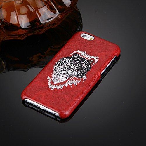 Wkae Case Cover Für iPhone 6 &6s Öl-Haut-Beschaffenheit Stickerei Leopard-Muster PU-Paste-Haut-PC-Schutzhülle ( SKU : IP6G0536A ) IP6G0536A