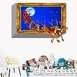 Adesivo da parete Adesivo Murale 3D Tridimensionale Cervi Di Natale Finto Finestrino Adesivo Murale Vinile Decalcomania Soggiorno Fai Da Te