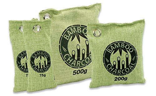 Natürlicher Bambus Lufterfrischer mit Aktivkohle – Wunderkissen – Luftreiniger für Wohnzimmer, Küche, Schlafzimmer, Bad & WC, Auto uvm. - Schadstofffrei und 100 % biologisch abbaubar - Sparset - grün