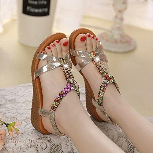 XY&GKSommer Sandalen, flache Unterseite Heel Leder Steigung und Strand sandals, komfortabel und schön 40 gold