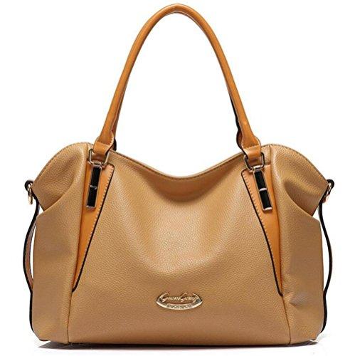 HQYSS Damen-handtaschen Frauen-weiche PU-lederne Taschen-Schulter-große Kapazitäts-prägeartige Kurier-Beutel-justierbare Handtasche khaki