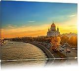 Sonnenuntergang in Moskau Format: 60x40 auf Leinwand, XXL riesige Bilder fertig gerahmt mit Keilrahmen, Kunstdruck auf Wandbild mit Rahmen, günstiger als Gemälde oder Ölbild, kein Poster oder Plakat