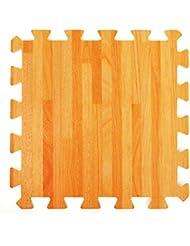 Esterillas de Espuma Conectables Efecto Madera - Perfectas para Protección de Suelos, Garaje, Ejercicio, Yoga y Sala de juegos. Espuma Eva (9 azulejos, Madera natural)