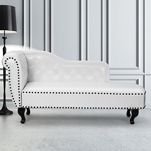 MIADOMODO Récamière de Luxe Chesterfield, Divan, Sofa, Gartenliege, aus Kunstleder, Farbe wählbar Farbe Weiß