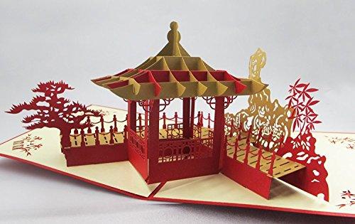 Witzige Geschenke Karten Print Business Logo Personalisierte handgemachte chinesische Pavilion 3D Pop up Grußkarten