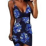 feiXIANG Damen Sommer V-Neck Blumen Kleider Party Abendkleid Casual Loose Mini Kleid Dress Enges Kleid mit ärmellosen Druckkleider Blumendruck Ballkleider (M, Z/Blau)