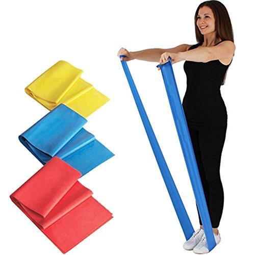 Potok Bandes élastiques de résistance,Theraband, Fitness, Yoga, Pilates, tonification, musculation, Lot de 3 avec 3 niveaux de difficultés différents