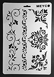 CraftDev A4 Size Stencils for DIY Scrapbooking, Painting Stencils, Drawing Stencil, Reusable Stencil SET OF 12 (Designs As Per Availability)