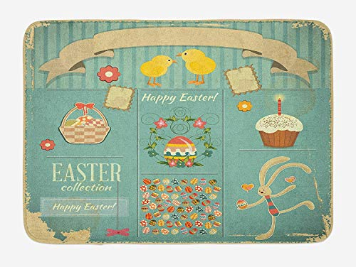 Easter Bath Mat, Easter Themed Rabbit Ornamental Eggs Cupcake and Basket Spring Season Arrangement, Plush Bathroom Decor Mat with Non Slip Backing, Multicolor,15.7X23.6 inch/40 * 60cm - Vanity Basket Liner