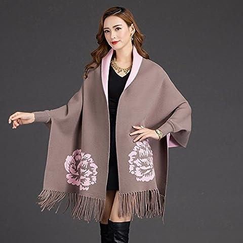 OME&QIUMEI Autumn And Winter Sweater Fringed Shawl Loose Coat Cloak Khaki