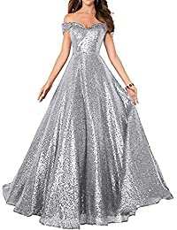 Sequin Prom Dresses Off The Shoulder Crystal Beaded Swing Ball Gown Long  P104 5be4ea71065b