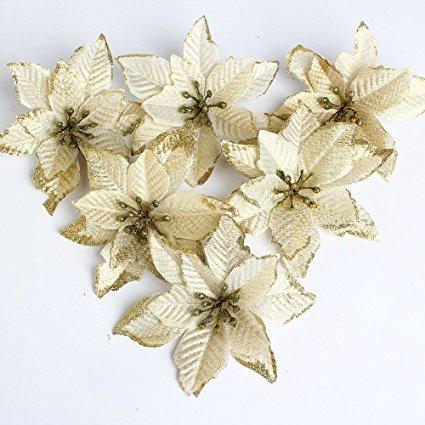 Fiori albero natale, 15cm 6pcs fiori finti con glitter, addobbi albero di natale, fiori ornamentali per natale o per matrimoni(oro) (oro)