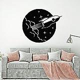 jiushixw Nave a Razzo Decalcomania da Muro in Vinile Space Star Astronaut Oblò Adesivi murali Camera da Letto Stickers murali Soggiorno Decorazioni per la casa Murales 57x67 cm