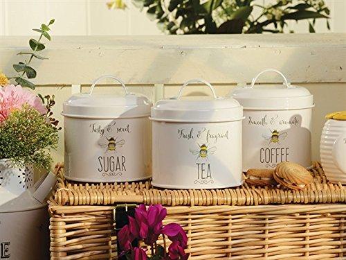 """Set mit 3Emaille-Behältern für Tee, Kaffee, Zucker, mit Hummel-Motiv, aus der """"Bee..."""