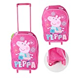 PEPPA PIG GEORGE WHEELIE TRAVEL BAG CASE SCHOOL OVERNIGHT HOLIDAY HAND LUGGAGE (Pink)