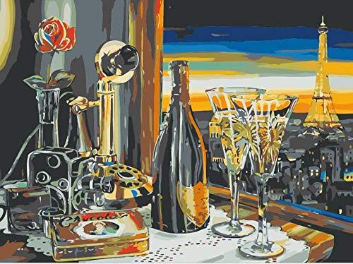 JRSART DIY Ölfarbe Von Number Kit - Bunte Leinwand Malerei Paintworks Bunte Wandkunst Bild Zeichnung Mit Pinsel Dekor Geschenke - Rotwein, Turm Von Paris 40X50Cm - Rahmenlos -