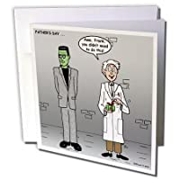 "3dRose gc_3513_1 6 x 6-Inch""Fathers Day with Dr Frankenstein and His Monster"" Greeting Card"