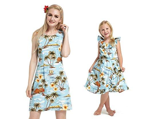 Hecho-en-Hawaii-Hija-de-madre-a-juego-Luau-Wrap-Vestir-en-Floral-azul-en-Blanco-S-8
