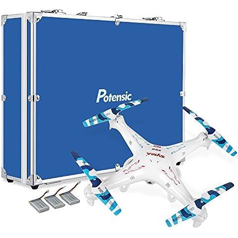 X5c-1 Drone con funda protectora, Potensic aumentó la versión de Syma X5c-1 Explorer 2,4 GHz de 4 canales 6 Axis Gyro RC Quadcopter Drone con 2 megapíxeles de alta definición cámara, lleva la