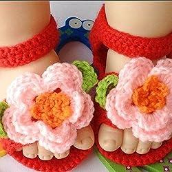 LEORX Cuna recién nacido Niño infantil niñas tejidos a mano lana ganchillo zapatos sandalias (rosa + rojo)