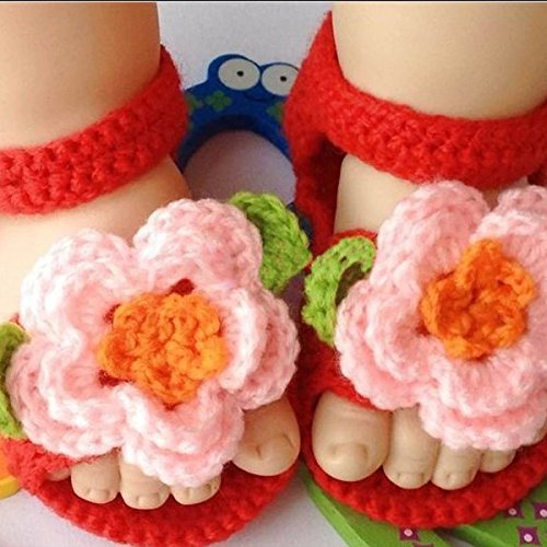 LEORX Neugeborenes Lauflernschuhe kleinkinder mädchen Hand gestrickte Wolle häkeln Babywiege Schuhe Sandalen (rosa + rot)