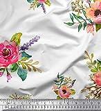 Soimoi Weiß Samt Stoff Blätter & Anemone Blume Dekor