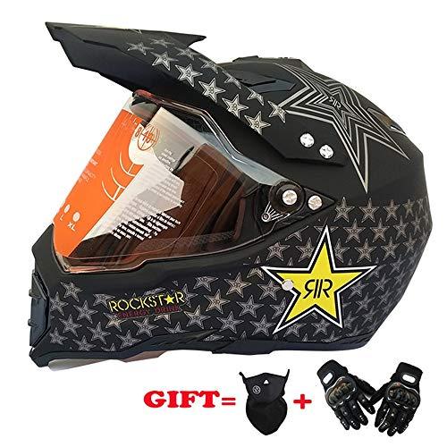 MRDEER Casco da Motocross Set (3 PCS) con Maschera Guanti, Unisex off-Road Casco Caschi da Corsa da Strada per Casco Integrale da Corsa Cross-Country - D.O.T Certificazione,S