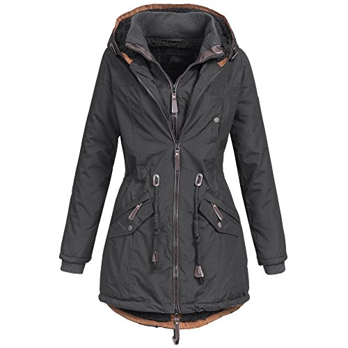 AZ-Fashion Damen Mantel Winterjacke Parka Jacke warm gefüttert XS-XXL AZ34, Größe:M / 38;Farbe:Schwarz