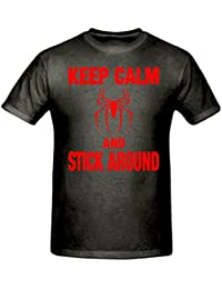 Bamboozled Accessories Keep Calm & Stick Around Spiderman T Shirt,Children's T Shirt, Sizes 5-15 Years