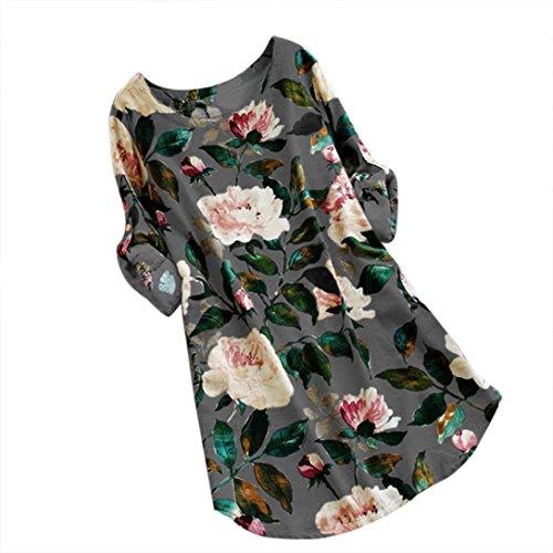 ndruck Minikleid Sommer Party Langarm Kleid Plus Größe (Grau, 2XL) (Plus Größe Hippie Kleider)